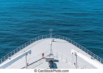 hajó, closeup, cirkálás, íj