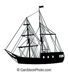 hajó, fehér, árnykép, háttér, vitorlázás