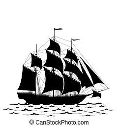 hajó, fekete
