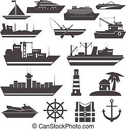 hajó, fekete, ikon