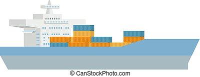 hajó, fogalom, konténer, rakomány, logisztika