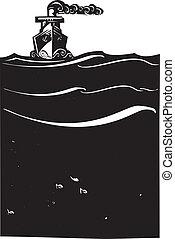 hajó, gőz, tenger
