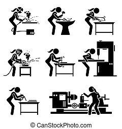 hajó, gyártás, eszközök, icons., munkás, bot, ipari, fém, vas, női becsül, felszerelés