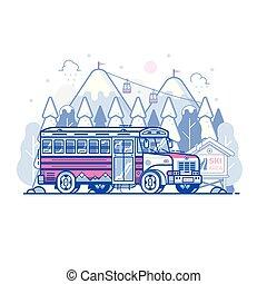 hajó, hegy, síléc menedékhely, autóbusz