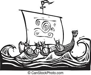 hajó, hosszú, viking