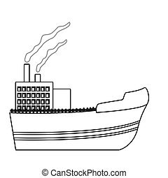 hajó, ipari, kép, ikon