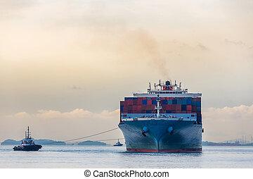 hajó, ipari, konténer, rév