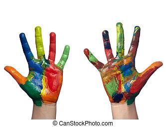 hajó, kéz, művészet, gyermek, festett, szín