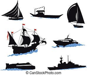hajó, körvonal, -, yac, part felől
