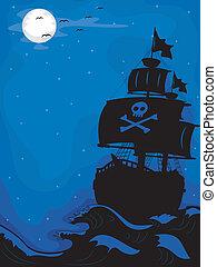 hajó, kalóz, éjszaka
