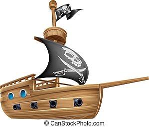 hajó, kalóz, karikatúra