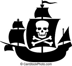 hajó, kalóz, koponya