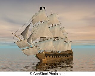 hajó, -, kalóz, render, 3