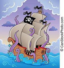 hajó, kar, kalóz, megrohamoz