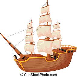 hajó, karikatúra, elszigetelt
