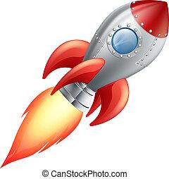 hajó, karikatúra, rakéta, hely