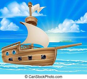 hajó, karikatúra, vitorlázás