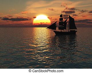 hajó, ki, tenger, sunset.
