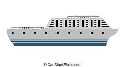hajó, kilátás, lejtő, elszigetelt, cirkálás