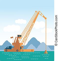 hajó, lakás, daru, quarry;, homok, ore;, hatalmas, albérlet, ipari, vektor, bárka, dredging, tengeri, bottom., modern, tenger, mód, earth., ásás, landscape;