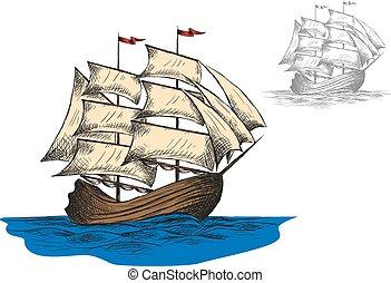 hajó, lenget, öreg, vitorlázás, óceán