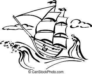 hajó, művészet, csíptet