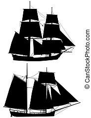 hajó, magas, vázlat, évszázad, xviii