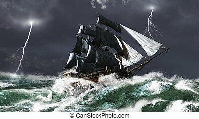 hajó, megrohamoz, vitorlázás, villámlás