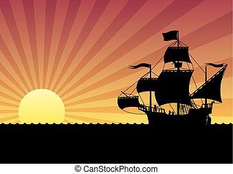 hajó, napnyugta, vitorlázás