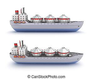 hajó, olaj tartálykocsi, háttér, fehér