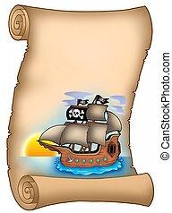 hajó, pergament, kalóz