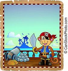 hajó, pergament, majom, kalóz