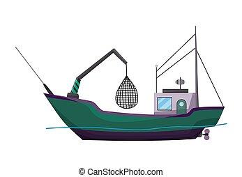 hajó, production., nézet., óceán, tenger gyümölcsei, vektor, ábra, fenékhálós halászhajó, ipari, tenger, tengeri, vagy, csónakázik, transportation., kereskedelmi, lejtő, halászat