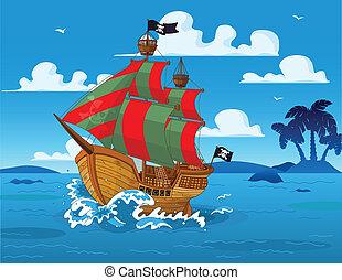 hajó, tenger, kalóz