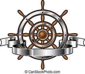 hajó, transzparens, kormánykerék