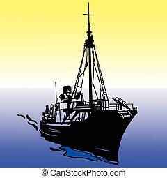 hajó, vektor, árnykép, ábra
