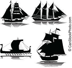 hajó, vektor, öreg