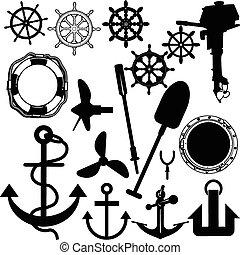 hajó, vektor, körvonal, töm