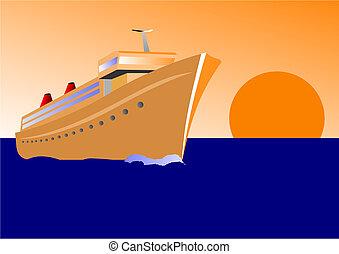 hajó, vektor, napnyugta, ábra, cirkálás