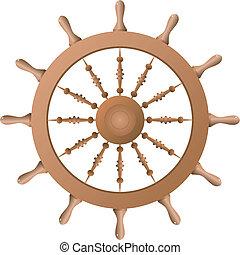 hajó, vektor, wheel.