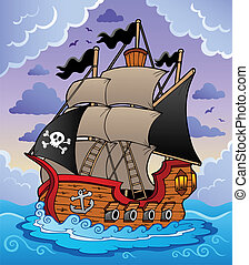 hajó, viharos, kalóz, tenger
