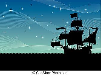 hajó, vitorlázás, éjszaka