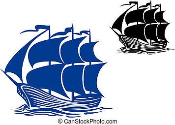 hajó, vitorlázik, brigantine