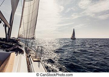 hajó, vitorlázik, jacht, vitorlázás, fehér
