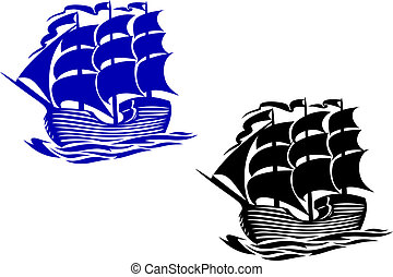 hajó, vitorlázik, kétárbocos vitorláshajó