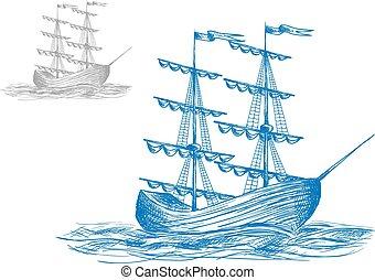 hajó, vitorlázik, középkori, lenget, óceán