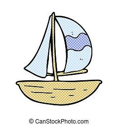 hajó, vitorlázik, karikatúra