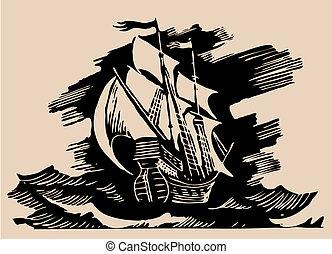 hajó, vitorlázik, maratás