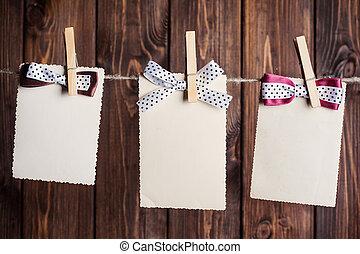 hajóorr, ruhaszárító kötél, ellen, lap papír, öreg, három, függő