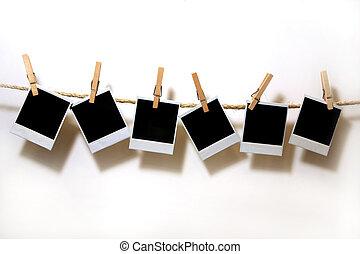 hajópapírok, polaroid, szüret, függő, fehér